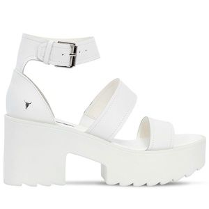 Windsor Smith White Leather Platform Heel Sandals